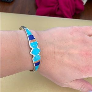 Sterling Silver Inlaid Turquoise Lapis Agate Cuff